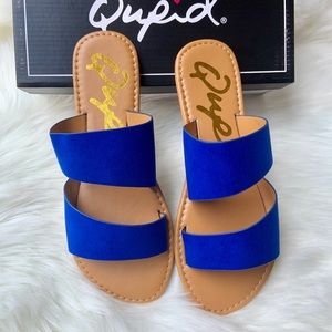 vegan suede two band  sandals cobalt blue